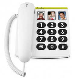 Dementia products. Big buttons and picture telephones