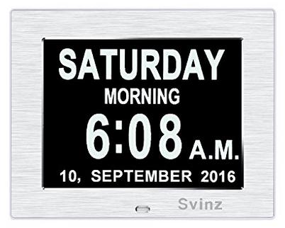 "8/"" Large Digital LED Day Clock 6-Alarm Time Week Date Calendar Dementia Display"